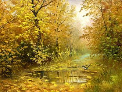 Pool On Road To Autumn Wood-balaikin2009-Art Print