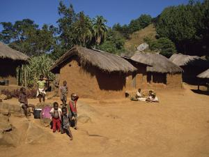 Village Scene, Children in Foreground, Zomba Plateau, Malawi, Africa by Poole David