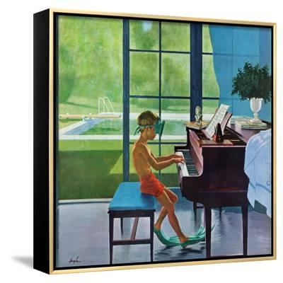 """""""Poolside Piano Practice,"""" June 11, 1960-George Hughes-Framed Canvas Print"""