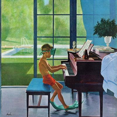 """Poolside Piano Practice,"" June 11, 1960-George Hughes-Giclee Print"