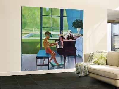 """Poolside Piano Practice,"" June 11, 1960-George Hughes-Wall Mural – Large"