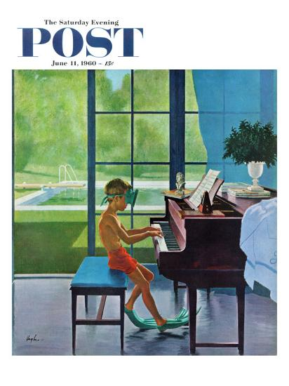 """Poolside Piano Practice,"" Saturday Evening Post Cover, June 11, 1960-George Hughes-Premium Giclee Print"