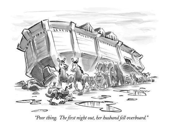 """Poor thing.  The first night out, her husband fell overboard."" - New Yorker Cartoon-Lee Lorenz-Premium Giclee Print"