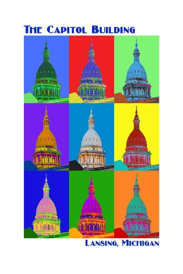 Pop Art - Capitol Building - Lansing, Michigan-Lantern Press-Art Print