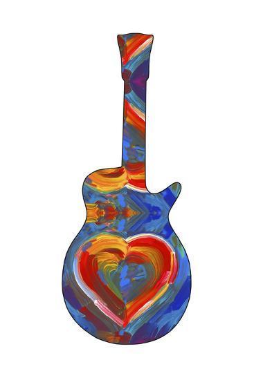 Pop Art Guitar Heart Brush-Howie Green-Giclee Print
