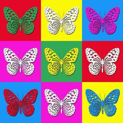 Pop Art Illustration with Colorful Butterflies-anasztazia-Art Print