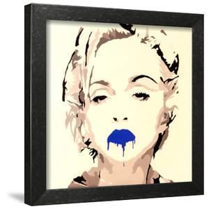 Madonna Pop Art Blue Lips by Pop Art Queen