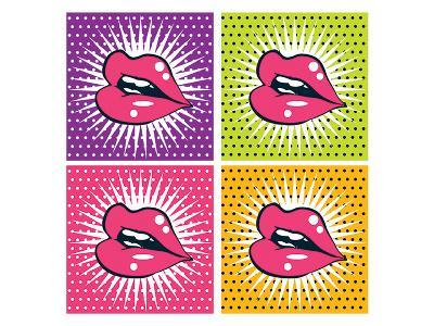 Pop Art Red Lips and Teeth--Art Print