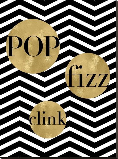 Pop Fizz Clink Black White Chevron-Amy Brinkman-Stretched Canvas Print