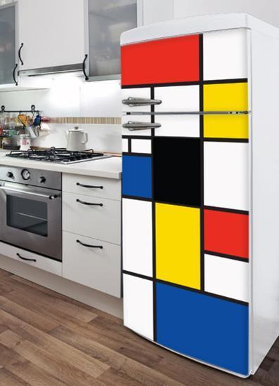Pop Mondrian Refrigerator Decal--Wall Decal