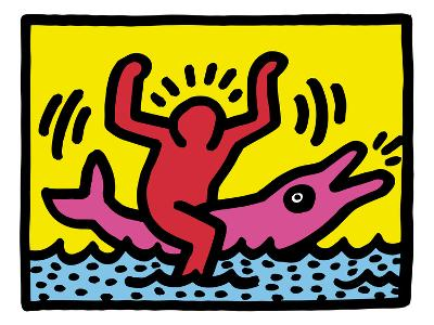 Pop Shop (Dolphin Rider)-Keith Haring-Giclee Print