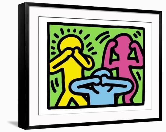 Pop Shop (See No Evil, Hear No Evil, Speak No Evil)-Keith Haring-Framed Giclee Print