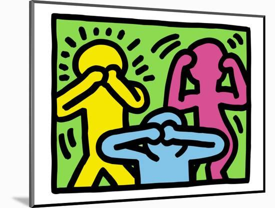 Pop Shop (See No Evil, Hear No Evil, Speak No Evil)-Keith Haring-Mounted Art Print