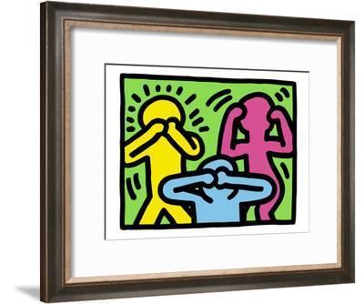 Pop Shop (See No Evil, Hear No Evil, Speak No Evil)-Keith Haring-Framed Art Print