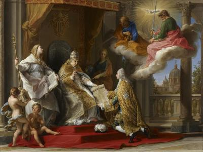 Pope Benedict XIV Presenting the Encyclical 'Ex Omnibus' to the Comte De Stainville-Pompeo Girolamo Batoni-Giclee Print