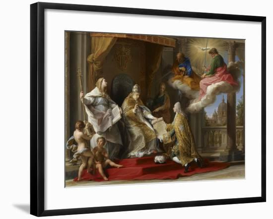 Pope Benedict XIV Presenting the Encyclical 'Ex Omnibus' to the Comte De Stainville-Pompeo Girolamo Batoni-Framed Giclee Print