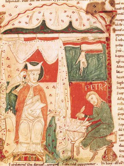 Pope Gregory I the Great (circa 540-604) Dictating the Book of Job to His Scribe Peter--Giclee Print
