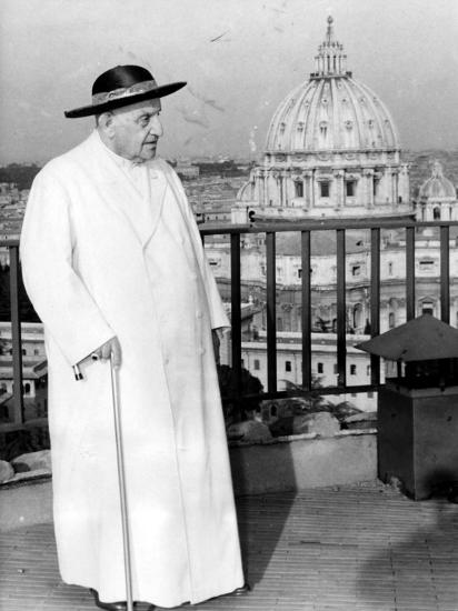 Pope John XXIII on the Terrace of a IX-Century Tower in the Vatican Gardens April 15, 1963--Photographic Print
