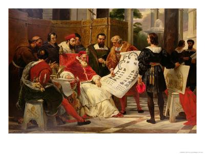 Pope Julius II Ordering Bramante Michelangelo and Raphael to Build the Vatican and St. Peter's 1827-Horace Vernet-Giclee Print