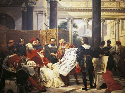 Pope Julius II Ordering Bramante Michelangelo and Raphael to Construct Vatican and St. Peter'S--Giclee Print