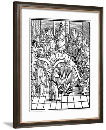 Pope Leo X Supervising the Burning of Martin Luthor's Books, 1521--Framed Giclee Print