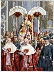 Pope Leo XIII in the Basilica of Saint Peter, Rome, 1900