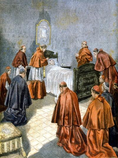 Pope Leo XIII Receiving the Last Rites on His Deathbed, 1903--Giclee Print