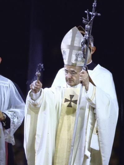 Pope Paul Vi Giving Mass and Sermon of Peace at Yankee Stadium During Historic Visit--Premium Photographic Print