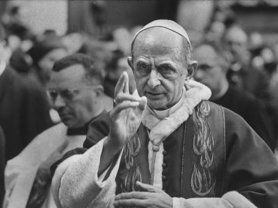 Pope Paul Vi, Officiating at Ash Wednesday Service in Santa Sabina Church-Carlo Bavagnoli-Photographic Print