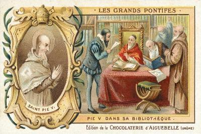 Pope Pius V in His Library, 16th Century--Giclee Print