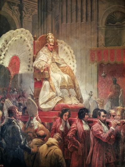 Pope Pius VIII in St. Peter's on the Sedia Gestatoria-Horace Vernet-Giclee Print