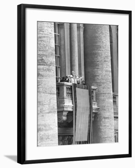 Pope Pius XII Addressed a Crowd of 150,000 from the Balcony of St. Peter's Basilica--Framed Photo