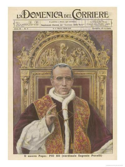 Pope Pius XII (Eugenio Pacelli) Newly Installed in 1939- Munollo-Giclee Print