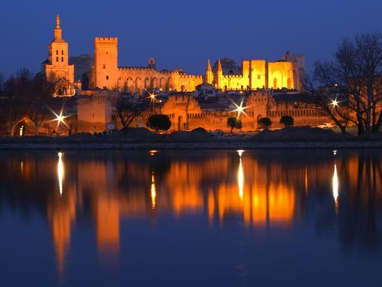 Pope's Palace in Avignon and the Rhone River at Sunset, Vaucluse, Rhone, Provence, France-Per Karlsson-Photographic Print