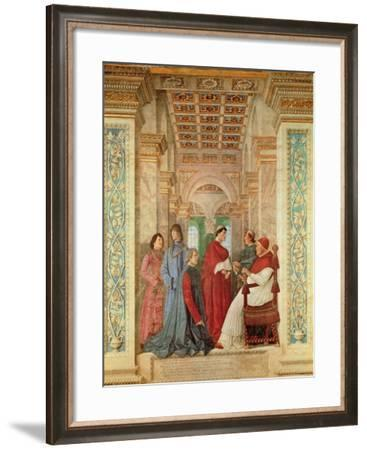 Pope Sixtus IV Installs Bartolommeo Platina as Director of the Vatican Library, C. 1477-Melozzo Da Forli-Framed Giclee Print