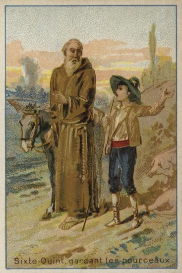 Pope Sixtus V as a Child, Looking after a Herd of Pigs--Giclee Print