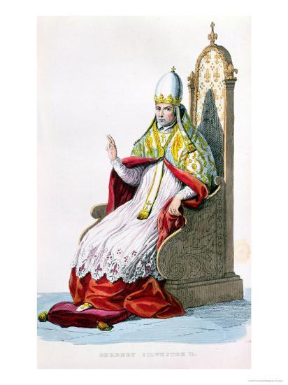 "Pope Sylvester II, from ""Le Plutarque Francais"" by E. Mennechet, Paris, 1835--Giclee Print"
