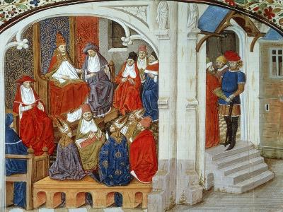 Pope Urban II Announcing First Crusade, 1095, Miniature Taken from This History of Crusades--Giclee Print