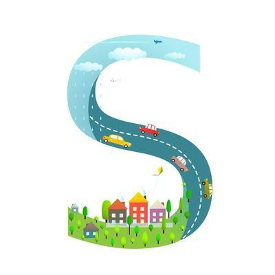 Alphabet Letter S Cartoon Flat Style for Children. for Kids Boys and Girls with City, Houses, Cars,