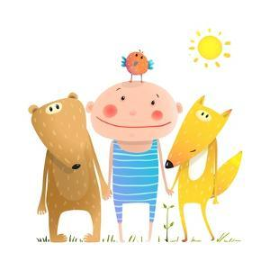 Animals and Child Friends Fox Bear Bird Kid Childish Funny in Nature Cartoon. Kids Smiling Cute Fri by Popmarleo