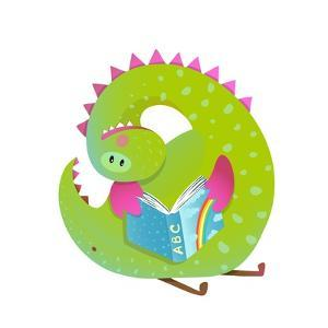 Baby Dragon Reading Book Study Cute Cartoon. Monster for Children, Funny Happy Dinosaur Drawing. Ve by Popmarleo