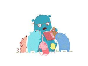 Bear Reading Book for Group of Animal Kids. Children Education and Reading. Child Learning, Teacher by Popmarleo