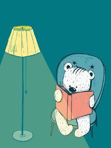 Cartoon Baby Bear Reading a Book. Hand Drawn Childish Bear Reading. Vector Illustration. by Popmarleo