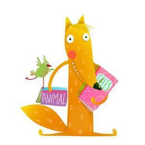 Cartoon Fox Reading Books with Bird Friend. Cute Red Fox and Birdie Sitting and Reading Books. Wild by Popmarleo