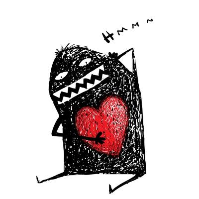 Cartoon Fun Amazing Character Scribble Love with Red Heart Inside. Cartoon Character with Red Heart