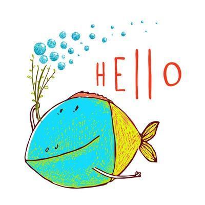 Cartoon Funny Fish Greeting Card Design Hand Drawn. Fun Cartoon Hand Drawn Colorful Fish with Bubbl