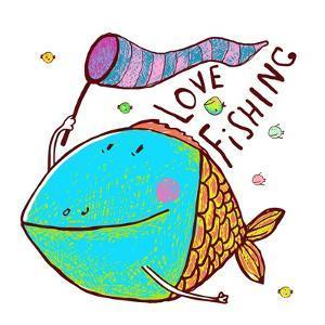Cartoon Funny Fish Greeting Card Design Hand Drawn. Humorous Cartoon Hand Drawn Colorful Fish Holdi by Popmarleo