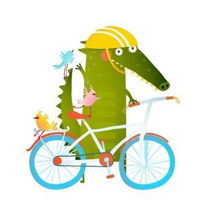 Cartoon Green Funny Crocodile in Helmet with Bicycle and Birds Friends. Funny Crocodile with Bicycl by Popmarleo
