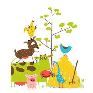 Colorful Funny Cartoon Farm Domestic Animals Pyramid Composition Card. Countryside Cottage Animals by Popmarleo