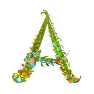 Decorative Botanical Elegant Alphabet Letter A. by Popmarleo